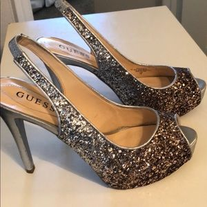 Shoes - Guess Gold and Silver Sparkly Stilettos